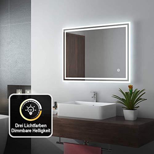 EMKE LED Badspiegel 80x60cm Badezimmerspiegel mit Beleuchtung 3 Lichtfarbe 3000-6400K kaltweiß Neutral Warmweiß Lichtspiegel Badezimmerspiegel mit Touchschalter+Beschlagfrei IP44 energiesparend