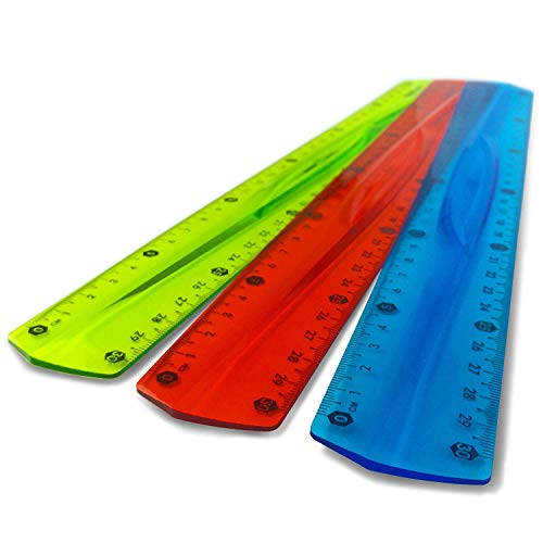 Westcott - Righello da 30cm,traslucido, infrangibile e flessibile, confezione da 3, 1di ogni colore