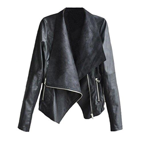 rivestimento della chiusura lampo, FEITONG donne motociclista giacca di pelle moto (L, Nero)