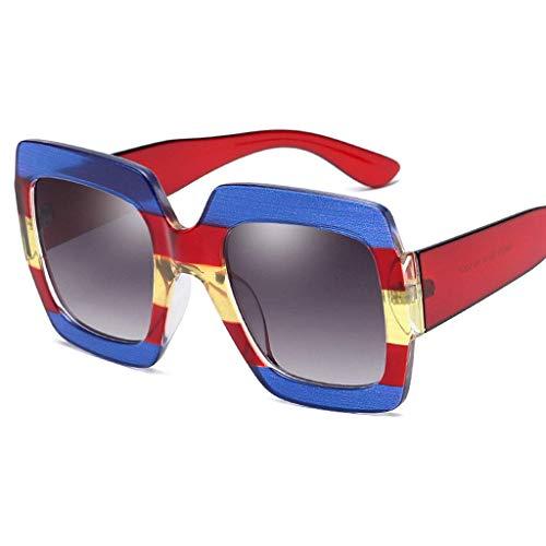 MWPO Europa und Amerika Druck Damenmode Big Box Individualität Sonnenschutz Spiegel UV400 Brille Polarisierte Brille (Farbe: Blau Rot Rahmen Grau Linse)
