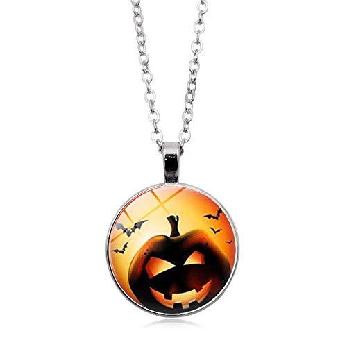 (Blisfille Halloween Kürbis Zeit Edelstein Halskette Mode Anhänger Halskette Festival Herren Damen Karnevalsfeier)