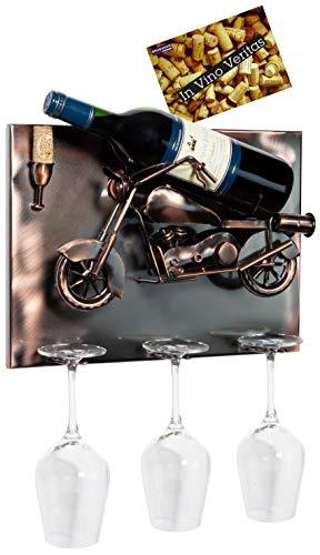 Brubaker Weinflaschenhalter Motorrad - Wall Art Bild Metall - mit 3 Glashaltern - inklusive Grußkarte für Weingeschenk