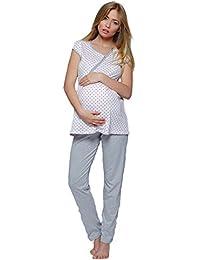 SENSIS bezaubernder Stillschlafanzug /Umstandspyjama mit praktischem Reißverschluß zum Stillen, 100% Baumwolle, made in EU