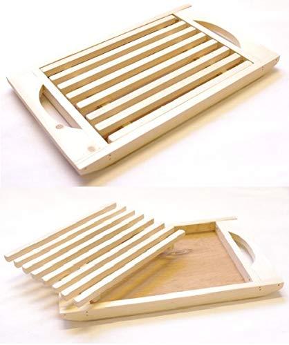 takestop® Tabla para Cortar Pan de Madera RF 63939con Rejilla extraíble para Migas 37.5x 21x 3cm