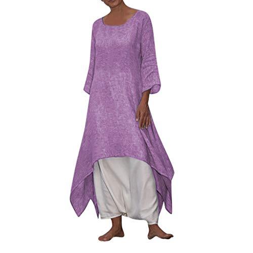 B-commerce Frauen Casual Vintage Boho Dress 3/4 HüLse Strand Plus GrößE Solide Lange UnregelmäßIge Sommer Dress BöHmischen O Neck Sexy ()