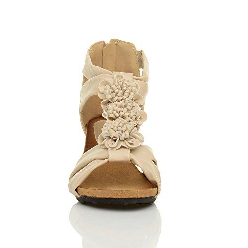 Riemchensandalen Blume Gr枚脽e Matt Hohe Hautfarbe Damen Keilabsatz Toe T Riemen Schuhe Peep 0xq4YZU