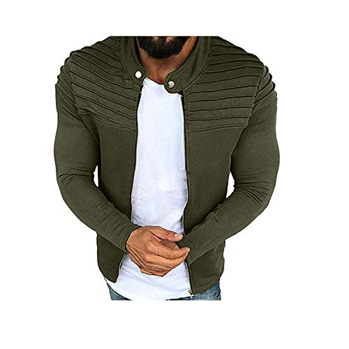 Hirate Herren Langarmjacke Casual Active Uniform Pure Color Plissiert Outwear Zip Overcoat Male Bodybuilding Kleidung - Grün - 3X-Groß - Strand Kleidung American Girl Puppe