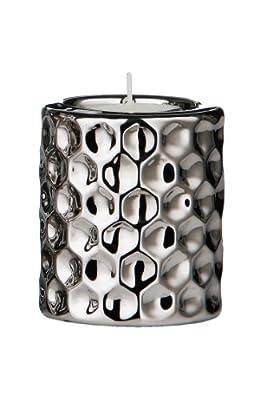 Premier Housewares 8 X 7 Cm Tealight Holder Hammered Effect Ceramic Silver by Premier Housewares