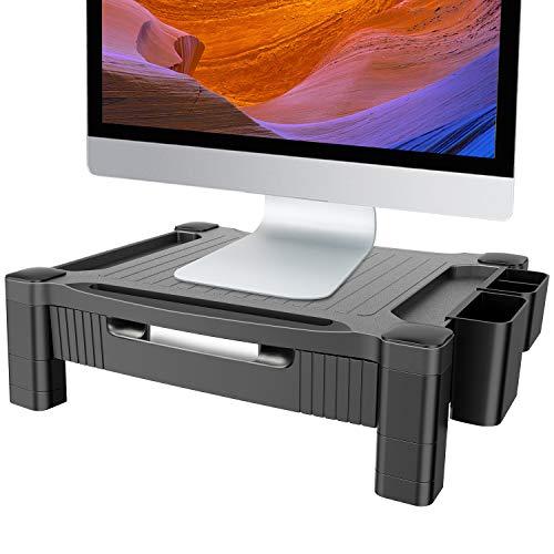 HUANUO Monitorständer Höhenverstellbar mit Schublade, Stifthalter, Telefonschlitz, Kabelmanagement für Computer, Laptops, Drucker, Bildschirm bis zu 10 kg