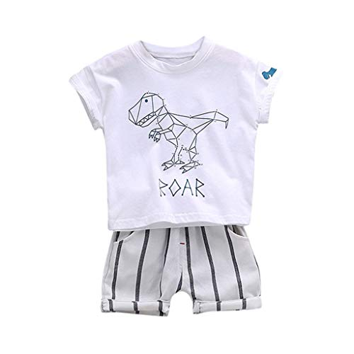 Cuteelf Baby Set Kinder Cartoon Dinosaurier Top + Gestreifte Shorts Zweiteiliges Kind Kind Jungen Cartoon Dinosaurier T-Shirt Top Streifen Shorts - Batman Und Robin Hunde Kostüm