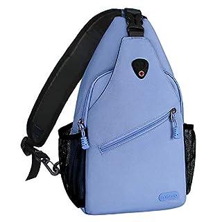 MOSISO Brusttasche Sling Rucksack Schultertasche, Polyester Crossbody Umhängetasche für Männer Frauen Mädchen Jungen, Airy Blau