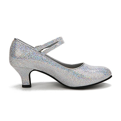 XFentech Modern Reizvoller Funkelnde Glitzer Heels Damen Lateinische Tanzschuhe, Silber, CN 40 (Fußlänge: 25 cm), Ferse 5.5 cm