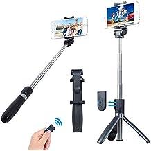 Miao Lab 3 en 1 Bluetooth Monopod Trípode Monopod con obturador de control remoto desmontable Titular de teléfono de rotación de 360 grados funciona con la mayoría del teléfono y cámaras GoPro