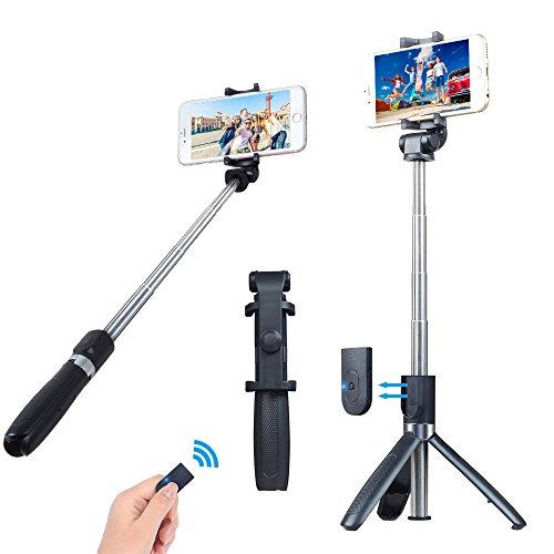 Miao Lab 3 in 1 Bluetooth Selfie Stick monopiede treppiede con telecomando staccabile scatto 360 gradi di rotazione del telefono funziona con la maggior parte del telefono e fotocamere GoPro