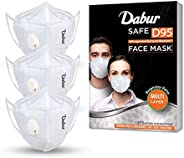 DABUR Safe D95 Face Mask N95, Equivalent Bacterial Filteration, Provides protection against Dust, Haze and Bac