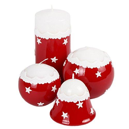 Rojas velas de Navidad Mesa decorativa Estrellas Completo juego de 4