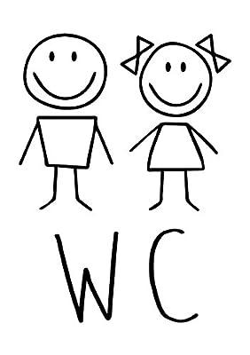 """Hinweisaufkleber """"WC"""", 18x24 cm, Art. hin_225, Hinweis, WC, Achtung, Toilette, Familie, Kinder, Jungen, Mädchen, Männer, Frauen"""