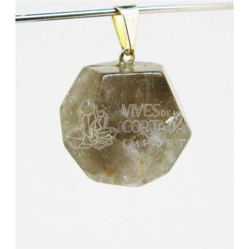 Ciondolo dodecaedro di quarzo rutilato, 20 mm