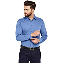 Hancock Blue Solid Slim Fit Pure Cotton Formal Shirt-436118Blue
