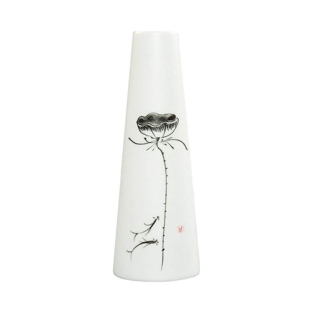 ufengke®-ts Jarrón de Cerámica,Florero de Porcelana Blanca con Hojas de Bambú Negro,Florero Decorativo Moderno Hecho A…