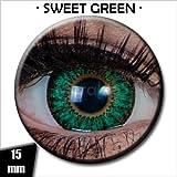 Meralens Circle Lenses grüne Sweet Green ohne Stärke + 60ml Kombilösung + Behälter 15mm Big Eyes farbige Kontaktlinsen