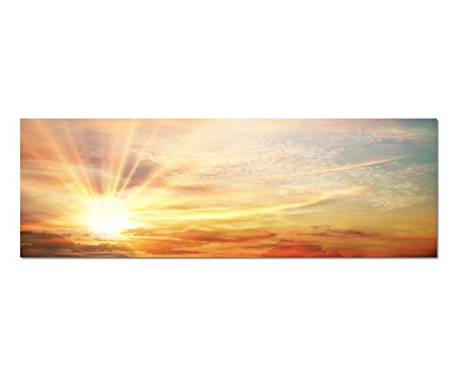 Paul Sinus Art Bilder Wand Bild - Kunstdruck 120x40cm Himmel Wolkenschleier Sonnenaufgang