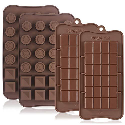4 moldes de silicona para chocolate