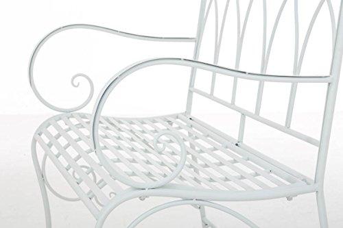 CLP Gartenbank ORKUN im Landhausstil, Eisen lackiert, 107 x 50 cm, 2er Sitzbank Weiß - 7