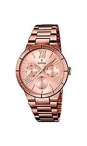 Festina F16798/1 - Reloj de pulsera mujer, acero inoxidable chapado, color marrón de Festina