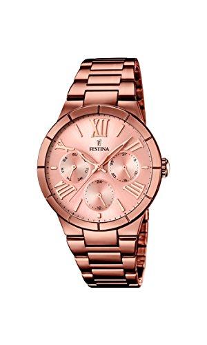 Festina Damen Analog Quarz Uhr mit Edelstahl Armband F16798/1