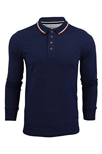 Polo Da Uomo T-Camicia by Brave Soul 'Kennedy' Collare Punta Maniche Lunghe (Marina Militare) M