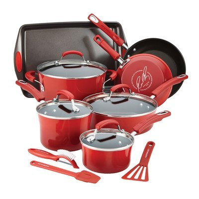 Rachael Ray Hard Enamel Nonstick Cookware Set, 14-pc - Red by Rachael Ray