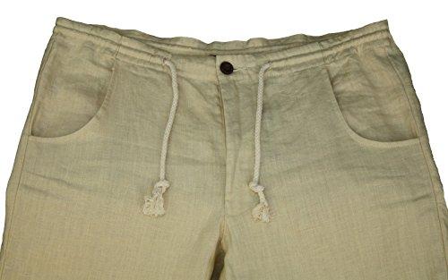 Pantaloni da uomo 101-38 100% lino, colori: blu, beige, marrone, verde, bianco e nero, taglie S M L XL XXL XXXL Beige