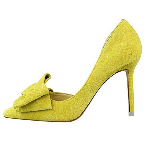 AalarDom Femme Tire Stylet Couleur Unie Pointu Chaussures Légeres Jaune-Nœuds à Deux Boucles