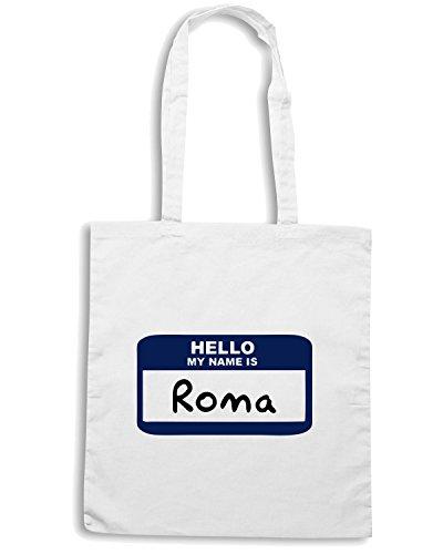T-Shirtshock - Borsa Shopping OLDENG00102 hello roma Bianco