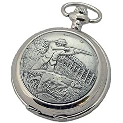 Woodford Shooting/Hunting Chrome Pewter Full Hunter Pocket Watch