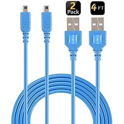 EXLENE 3DS / 2DS Chargeur (2 pièces), Nintendo 3ds USB Chargeur Câble de recharge pour Nintendo 3DS / Nouveau 3DS XL / 2DS / Nouveau 2DS XL LL/DSi / DSi XL (bleu, 1,2 m)