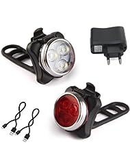 Amanka Luces LED para bicicleta recargable por USB conjunto de luces delantera y trasera para bicicleta 4 modos de iluminación