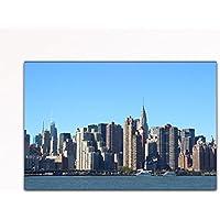 Your bilder24. de parete immagine xxl Manhattan Skyline con Empire State buildingvor Hudson River New York, su tela e telaio di alta qualità fatto a mano in Germania., blau gelb weiß grün rot orange braun schwarz rosa, 40 x 60