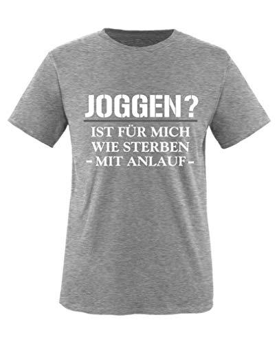Sterben Kinder Hoodie (Comedy Shirts - Joggen? Ist Fuer Mich wie sterben mit Anlauf - Jungen T-Shirt - Grau/Weiss-Grau Gr. 152/164)