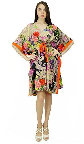 Phagun Coton Bohème Robe De Vêtements De Nuit Courte Maxi MulticolouRouge