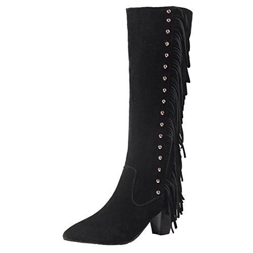 AIYOUMEI Damen Knniehohe Stiefel mit Fransen und Nieten Blockabsatz High Heels Winter Warm Elegant Stiefel Schuhe