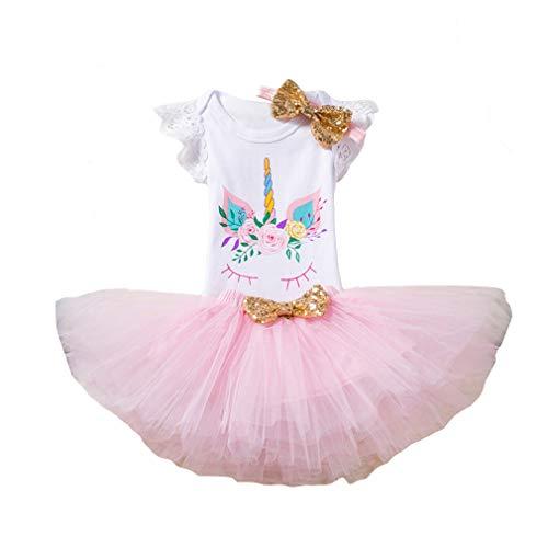 Chenqi Neugeborenes Baby Kleid 1. Geburtstag Prinzessin Kleid für Geburtstagsparty Einhorn Glänzend bedruckt Romper Pailletten Kleid mit Stirnband Kleinkind Kleinkind Kinder 3PCS Kostüm Set