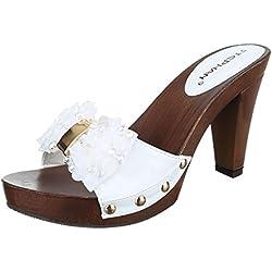 Damen Sandalen Pantoletten Sandaletten High Heels Plateau ST625 (39, Weiß)