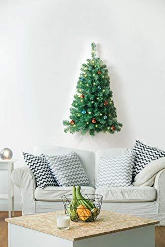 Jobar éclairé 0,9 m Arbre de Noël Artificiel décoré avec 50 Feux Blancs à Piles Support Mural