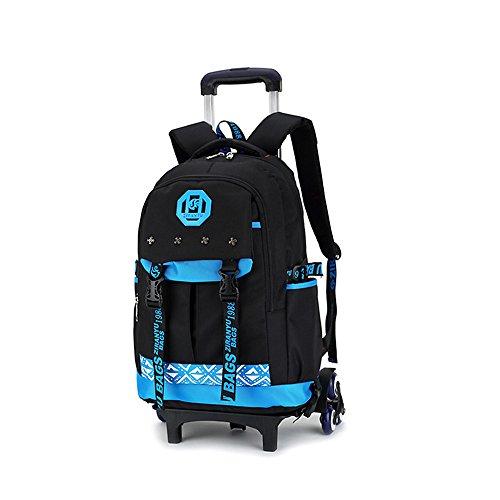 Bupin scuola borsa, tre ruote leva borsa, zaino estraibile per i bambini e scolari, mitigatore di st (blu)