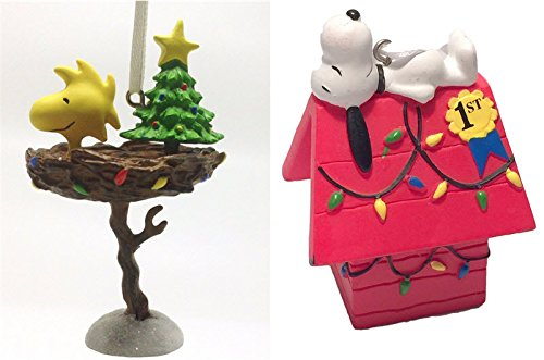 2015Hallmark Peanuts 50. Jahrestag Christmas Ornaments Set of 2-Snoopy & Woodstock