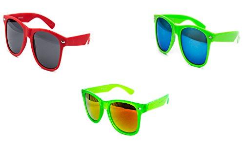 3 er Set Nerd Sonnenbrille Partybrille Festival Sunglass Atzen Brille Rot Grün Blauer Spiegel D546