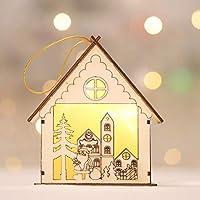 HAPPYXMAS nuevos faroles de madera decoraciones de Navidad luminosa cabaña de madera creativa de dibujos animados