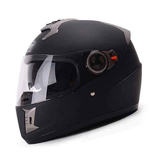 JKLL Casco Moto Aperto DOT Approvato - Moto ciclomotore Jet Bobber Pilot Crash Chopper Casco Integrale con Visiera Parasole per Uomo Adulto Donna - Nero Opaco